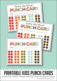 Printable Kids Kids Printable Punch Cards