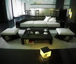 asian living room oriental living room design idea with shiny black acrylic and white fabric cushion modern oriental