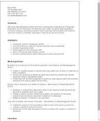 Resume Templates: Asset Management Analyst