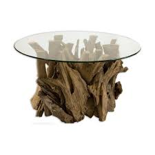 natural brown wooden tree trunks base combined with circle glas