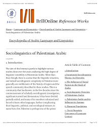 This peer reviewed online journal is your. Pdf Sociolinguistics Of Palestinian Arabic