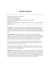 Dump Truck Driver Job Description Resume truck driver duties Savebtsaco 1