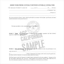 Contract Forms For Construction Form Of Agreement Between Owner And Contractor 10 Sample