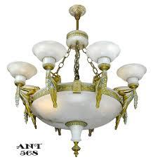 vintage hardware lighting art deco grand alabaster bowl chandelier antique eight light fixture ant 568