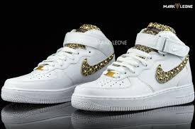 handmade nike air force 1 mid leather leopard by mark leone