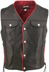 men s black leather motorcycle vest with red trim pockets and larger photo email