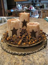 Rustic Star Kitchen Decor Centerpiece With Rustic Candles And Wood Bowl Primitive