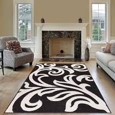 modern area black white rug for