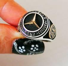 Handmade 925 Sterling <b>Silver Men's</b> Ring <b>MERCEDES Benz</b> Car ...