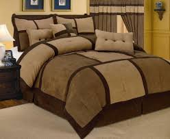 comforter curtain sheet set patchwork brown micro suede king size at linen plus