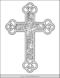 Coloring pages for roses (nature) ➜ tons of free drawings to color. Cross Coloring Page Roses Thecatholickid Com
