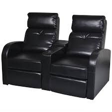 <b>Artificial Leather Home</b> Cinema Recliner Reclining Sofa 2-seat, Black
