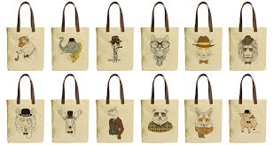 image is loading hipster style animals beige printed canvas tote bags