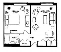 Small One Bedroom Apartment Floor Plans Gorgeous Plans Free