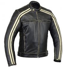 bikers gear the bonnie motorcycle ce1621 1 pu armour cowhide leather jacket ivory stripe