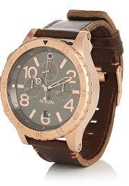 nixon 48 20 chrono leather rose gold mid brown
