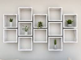 rustic white square wall shelf in solid