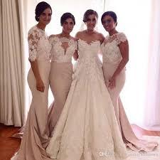 dusty rose mermaid bridesmaid dresses lace sleeves long elegant