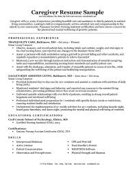 Elderly Caregiver Resumes Caregiver Resume Sample Writing Tips Resume Companion