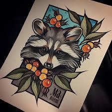 эскиз татуировки енот 45684 тату салон дом элит тату