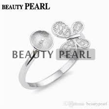 wave ring settings 925 sterling silver diy jewelry findings dangle pearl ring semi mount 5 pieces