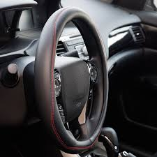genuine leather steering wheel cover with red