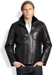 lyst andrew marc sage fur trimmed leather jacket in black for men