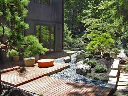 Lawn & Garden:Stunning Backyard Japanese Garden With Green Plant Surrounded  Pond Fish Also Stone