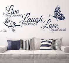 live love laugh wall sticker with butterfly design