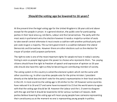 should the voting age be lowered to years gcse politics document image preview