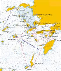 Nautical Chart Of Kos And Bodrum Sailing Routes Yacht