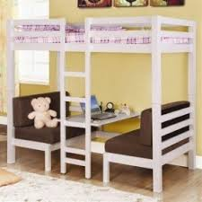 Bed with table underneath