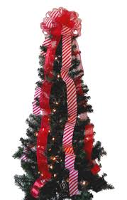 tree red and white striped mesh tree topper on candy cane bow darling