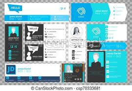 Email Signature Templates Isolated On Transparent Background Vector Office Business Visit Cards For Webmail User Interface Collection