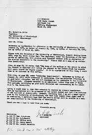 letter from james meredith to the registrar at the university of  view add