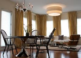 ceiling family mid century modern living room curtain mount with round dining table eclectic curved track covered curtains