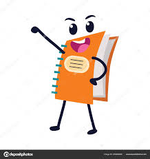 colorful spiral exercise book with funny cartoon mascot wele back to education concept creative design vector ilration