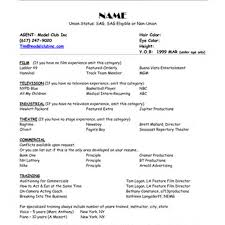 Modeling Resume Template Promotional Model Resume Samples Promo Example Child Examples For 12