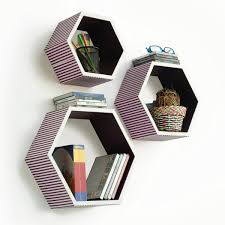 Purple Floating Shelves Unique Trista [Love Of Purple] Hexagon Leather Wall Shelf Bookshelf