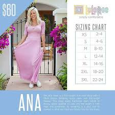 Lularoe Llr Ana Dress Womens Size Large L Floral Maxi Long