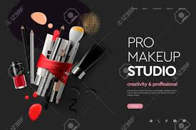 Design Makeup Products Web Page Design Template For Makeup Studio Course Natural Products