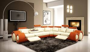 Orange And Brown Living Room Amazoncom 4087 Orange Off White Bonded Leather Sectional Sofa