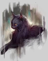 black cat painting by tehchan