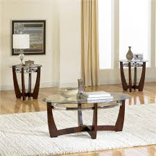 3 pack with glass top cocktail table and 2 end tables by coffee