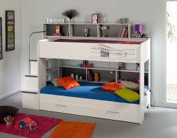 Children Bedroom with White Bunkbed and Blue Bed and White Under bed  Storage and Gray Wall