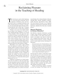 PDF) Reclaiming pleasure in the teaching of reading