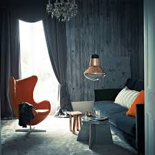 Orange Chairs Living Room Simple Living Room With Gray Wall Paint Orange Chair Dark Velvet
