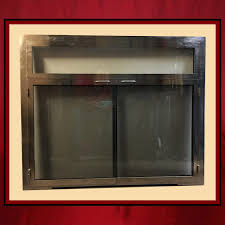 fireplace glass door satin nickel door