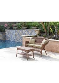 honey wicker patio love seat and coffee