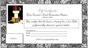 gift certificates format gift certificates leonards book restoration